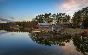 Picture forest, trees, sunset, house, stones, shore, boat, the evening, pier, Bay, Finland, sheds, Eagle, Mussalo