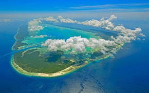 Picture clouds, island, Seychelles, The Indian ocean, Aldabra