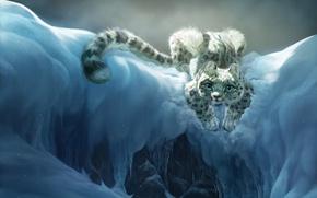 Wallpaper bars, art, mountains, snow, mood, children's, cat