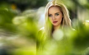 Picture greens, look, the sun, background, portrait, makeup, hairstyle, blonde, beautiful, bokeh, Marion, Maarten Quaadvliet