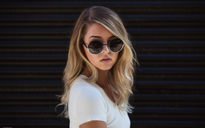 Picture girl, background, portrait, makeup, glasses, hairstyle, blonde, beauty, in white