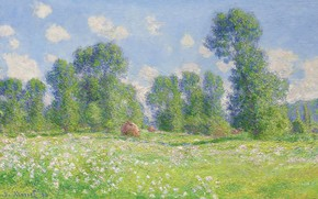 Wallpaper Claude Monet, picture, nature, landscape, Claude Monet, The spring Effect at Giverny