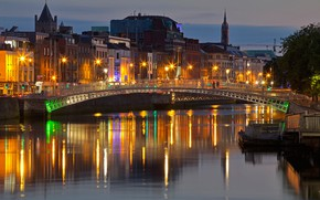 Picture night, bridge, lights, river, home, Ireland, Dublin