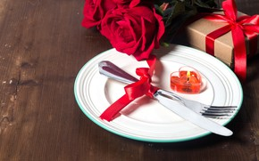 Picture flower, love, gift, heart, rose, candle, knife, hearts, love, plug, romantic, Valentine's Day, serving