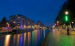 Picture trees, night, bridge, lights, river, France, Paris, home, lights, channel