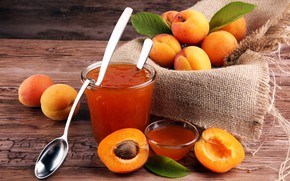 Picture background, spoon, apricot, leaves, apricot jam
