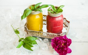 Picture flower, ice, drink, mint, peony, smoothies