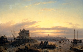 Picture landscape, house, boat, oil, Winter, picture, canvas, Charles Leickert