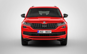Wallpaper Kodiaq Sportline, Skoda, the front, 2017, Skoda, background, grey, red