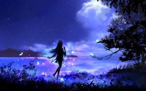 Wallpaper by 00, elf, nature, art, fantasy, night