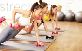 Wallpaper Fitness, class, gym, dumbbells, floor