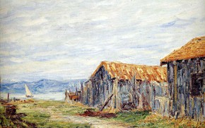 Picture landscape, boat, track, sail, sheds, Francis Picabia