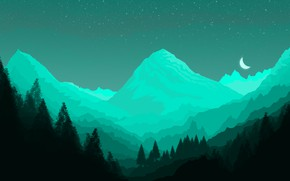 Picture green, minimal, dark, light, moon, forest, background, mountains, view, fog, photoshop, good, paper, cool, best, …