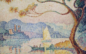 Wallpaper landscape, Antibes, pointillism, Paul Signac, tower, Antibes. the Small Port of Bacon, picture