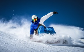 Picture winter, the sky, the sun, snow, snowboard, snowboarding, the descent, sport, slope, glasses, costume, gloves, ...
