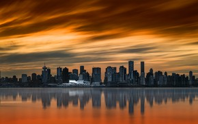 Picture sunset, the city, Vancouver