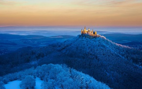 Wallpaper forest, lights, mountain, Germany, Hohenzollern castle