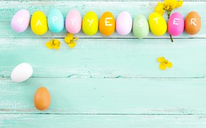 Picture flowers, eggs, spring, colorful, Easter, wood, pink, flowers, tulips, spring, Easter, eggs, decoration, Happy, tender