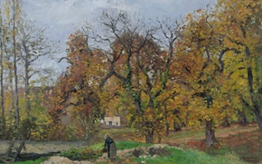 Picture autumn, trees, picture, Camille Pissarro, Autumn Landscape near PONTOISE