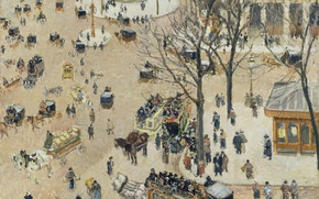 Picture Camille Pissarro, the urban landscape, picture, Place Du Théâtre Français
