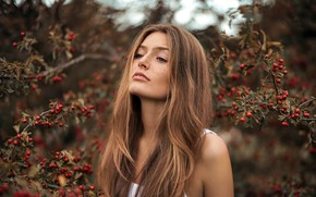 Picture girl, branches, berries, model, portrait, makeup, garden, hairstyle, freckles, beautiful, the bushes, photoshoot, nature, Rowan, …