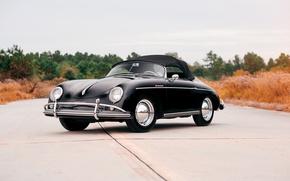 Picture road, black, Porsche, convertible, car, Porsche, Speedster, 1600, 356A
