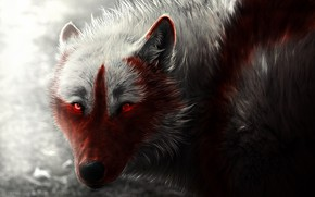 Picture wolf, art, wolf, glowing eyes