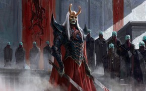 Picture blood, fantasy, horns, armor, long hair, Warrior, people, weapons, digital art, artwork, mask, swords, fantasy …