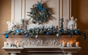Picture decoration, balls, toys, tree, candles, New Year, Christmas, fireplace, Christmas, balls, design, Merry Christmas, Xmas, …