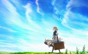 Wallpaper the sky, girl, anime, Violet Evergarden