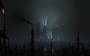 Wallpaper torch, Black Out 2022, BLADE RUNNER 2049, megapolis, could
