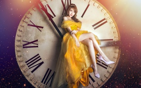 Picture girl, watch, Asian