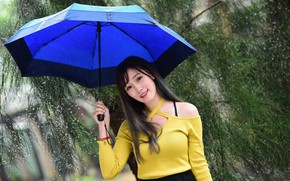 Picture girl, smile, umbrella, rain
