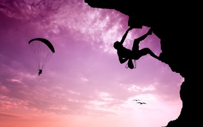 Wallpaper the sky, landscape, sunrise, mountain, the situation, goal, silhouette, extreme, climber, climber, insurance, courage, paraglider, ...