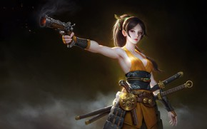 Picture swords, artwork, monocle, weapons, digital art, fantasy art, girl, Warrior, gun, background, kimono, fantasy