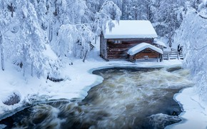 Wallpaper winter, forest, trees, landscape, nature, house, Park, river, ice, ate, Finland, Jari Ehrström