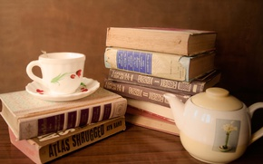 Picture Cup, Dishes, Books, Kettle, Books