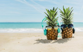 Wallpaper sand, sea, beach, summer, stay, headphones, glasses, summer, pineapple, happy, beach, vacation, sea, headphones, sand, ...
