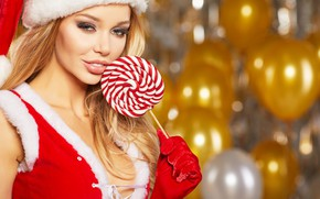 Picture look, background, hat, makeup, dress, hairstyle, blonde, gloves, maiden, Lollipop, beauty, in red, balloons, bokeh