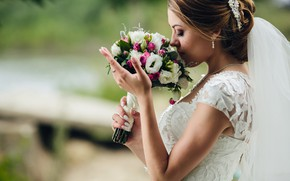 Picture girl, bouquet, the bride, white dress, veil, wedding