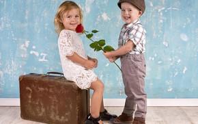 Wallpaper boy, girl, suitcase, girl, sitting, smile, boy, children, kids, gives rose