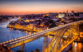 Wallpaper river, panorama, home, bridge, Portugal, lights, Porto