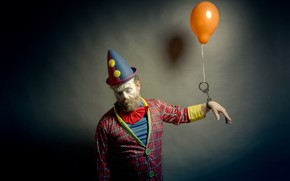 Picture people, ball, clown, handcuffs