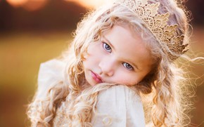 Picture look, mood, crown, girl, curls, face, little Princess