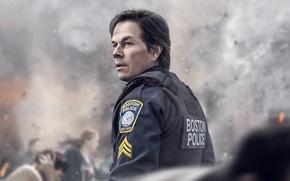 Picture cinema, chaos, man, movie, film, Mark Wahlberg, cop, uniform, seifuku, Patriots Day