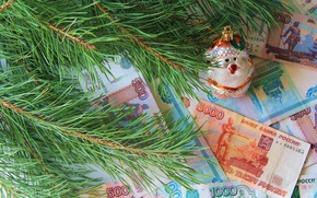 Picture branches, toy, money, spruce, rubles