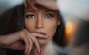 Picture look, girl, face, portrait, hands, makeup, brunette, hairstyle, beautiful, bokeh, Nikolay Ivanov