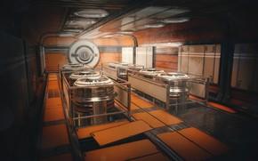 Picture the room, equipment, Sci Fi Orange Tunnel
