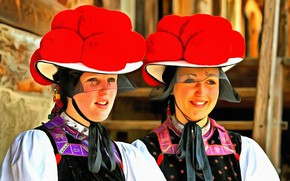 Picture smile, Girls, hats, The black forest, national costume, the Germans