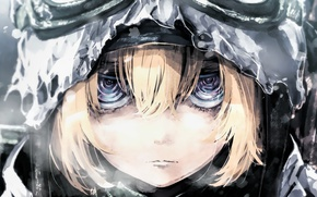 Picture girl, soldier, rain, military, war, eyes, anime, blonde, asian, manga, pearls, oriental, asiatic, powerful, strong, …